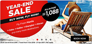 Air Asia October 2016-April 2017 Promo Fare