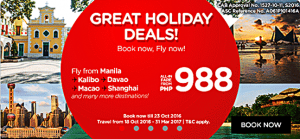 Air Asia Low Fares October 2016- March 2017 on Sale