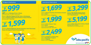Cebu Pacific Promo Flights November 2016- February 2017