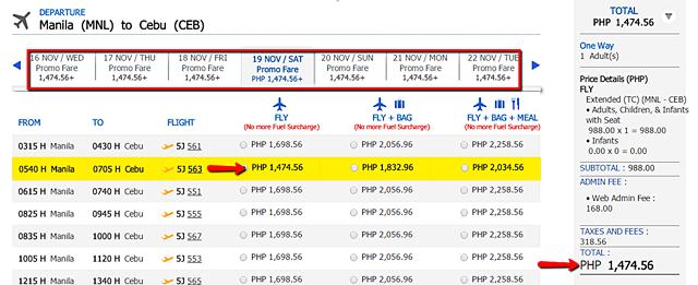Cebu Pacific November 2016 To February 2017 Promo Fare