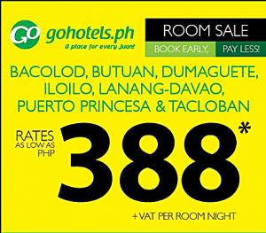 Go Hotel Rooms Promo 2017 as Low as P388 Per Night