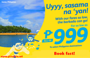 Sale Tickets by Cebu Pacific Air for November 2016-March 2017