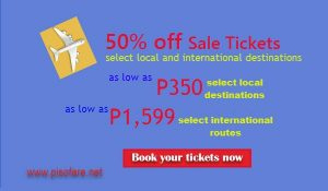 Cebu Pacific 50% off Promo; as low as P350 Sale Tickets 2017