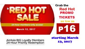 As low as P16 Air Asia Red Hot Sale Tickets 2017-2018