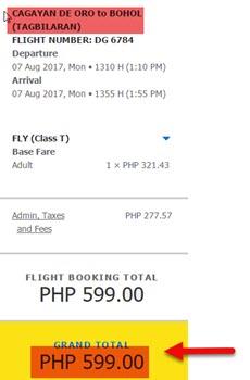 Cagayan-De-Oro-to-Tagbilaran-Seat-Sale-August-2017