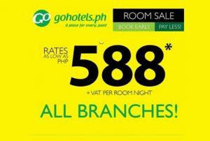 Go Hotel All Branches Room Sale at P588+ June-July Hotel Stay