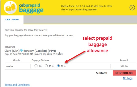 Select-your-Prepaid-Baggage-Allowance