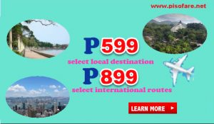 Promo Fares as low as P599 Local; P899 International Trips