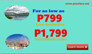 July to September 2017 Promo Fares Local and International Routes