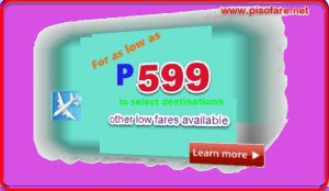 Airline Promo Ticket as low as P599 for September-December 2017
