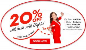 Air Asia 20% Off Promo Deals July-November 2017