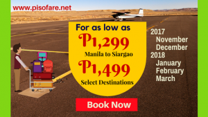 Cebu Pacific Promo November 2017- March 2018 Travel Dates