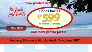 Promo Fares for as low as P599 January- June 2018