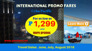 Cebu Pacific Hong Kong, Other International Promos 2018
