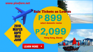 Avail Promo Tickets as low as P899 March-June 2018