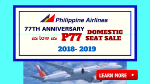 Philippine Airlines 77th Anniversary Sale as Low as P77 Domestic Promos