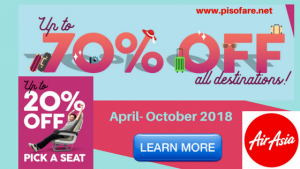 Air Asia Up to 70% Off Promo Deals for April-October 2018