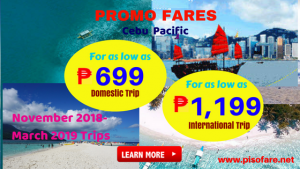 Promo Fares as Low as P699 November 2018- March 2019