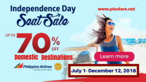 Philippine Airlines Up to 70% Off Independence Day Promo 2018: Domestic
