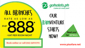 Go Hotel Room Sale as Low as P888 Per Night Stay- All Branches