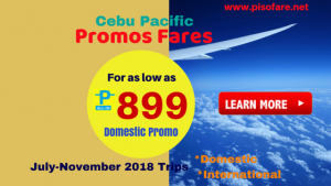 Cebu Pacific Promo Fares 2018 as Low as P899