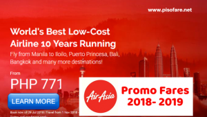 Book Air Asia Promo Tickets as low as P771 November 2018- August 2019