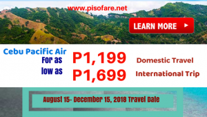 Cebu Pacific Promos August, September, October, November, December 2018