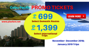 Cebu Pacific as Low as P699 Promos November, December 2018, January 2019