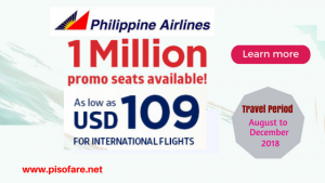 Philippine Airlines August- December 2018 International Promo Fare