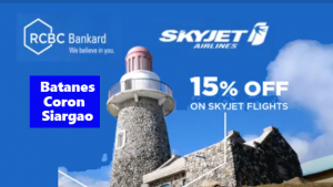 Skyjet RCBC 15% Off Promo Batanes, Coron, Siargao July-December 2018