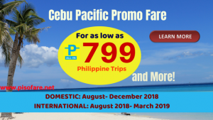 Avail as Low as P799 Promo Fares October, November, December 2018