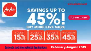 Enjoy up to 45% Off Base Fare: Air Asia Book More Save More Promo