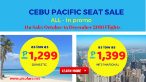 Cebu Pacific Promo Fares October, November, December 2018