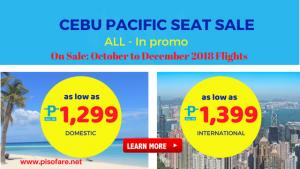 Cebu Pacific Promo Fares October, November, December 2018