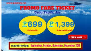 Cebu Pacific P699 September-December 2018 Promo Tickets
