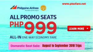 Philippine Airlines P999 Domestic Promo Fares August- September 2018
