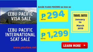 Cebu Pacific Visa Sale Promo as Low as P294 Base Fare
