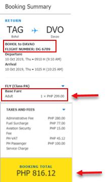 sale-ticket-bohol-to-davao-cebu-pacific